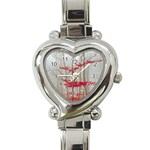 Magic forest in red and white Heart Italian Charm Watch Front