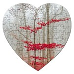 Magic forest in red and white Jigsaw Puzzle (Heart) Front