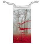 Magic forest in red and white Jewelry Bags Back