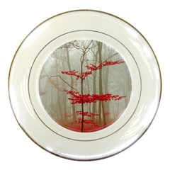 Magic Forest In Red And White Porcelain Plates by wsfcow