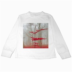 Magic Forest In Red And White Kids Long Sleeve T Shirts
