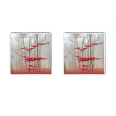 Magic Forest In Red And White Cufflinks (square) by wsfcow