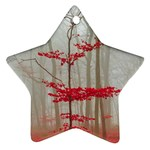 Magic forest in red and white Star Ornament (Two Sides)  Back