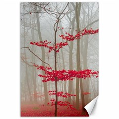 Magic Forest In Red And White Canvas 12  X 18   by wsfcow