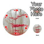 Magic forest in red and white Playing Cards 54 (Round)  Front - Heart4