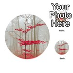 Magic forest in red and white Playing Cards 54 (Round)  Back