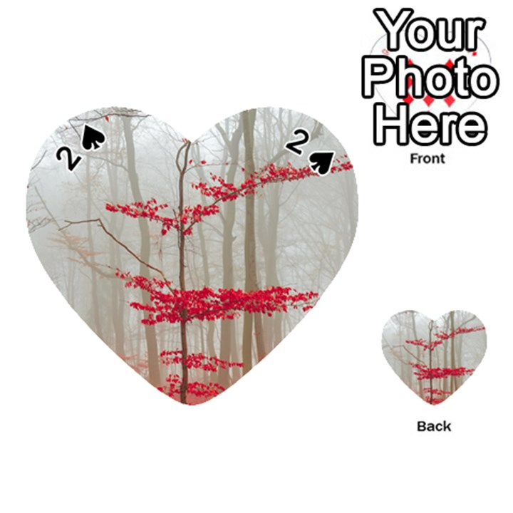 Magic forest in red and white Playing Cards 54 (Heart)