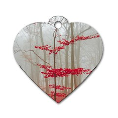 Magic Forest In Red And White Dog Tag Heart (one Side) by wsfcow