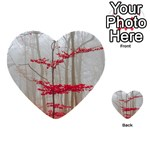 Magic forest in red and white Multi-purpose Cards (Heart)  Back 1