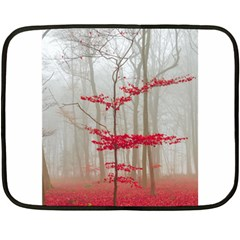 Magic Forest In Red And White Double Sided Fleece Blanket (mini)  by wsfcow
