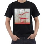 Magic forest in red and white Men s T-Shirt (Black)