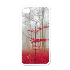 Magic Forest In Red And White Apple Iphone 4 Case (white)