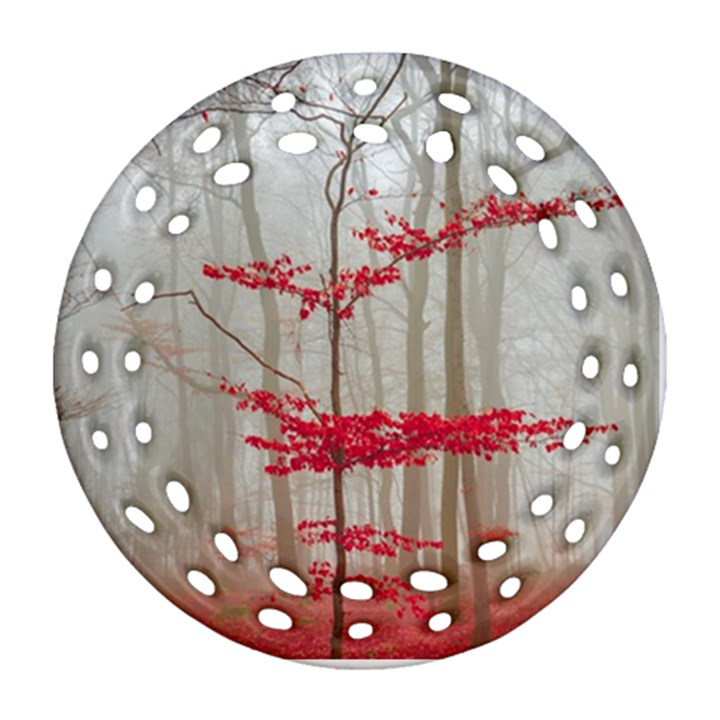 Magic forest in red and white Ornament (Round Filigree)