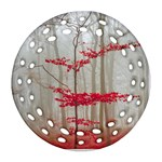 Magic forest in red and white Round Filigree Ornament (2Side)