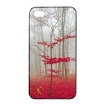 Magic forest in red and white Apple iPhone 4/4s Seamless Case (Black) Front