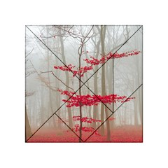 Magic Forest In Red And White Acrylic Tangram Puzzle (4  X 4 ) by wsfcow