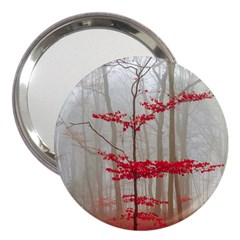 Magic Forest In Red And White 3  Handbag Mirrors by wsfcow