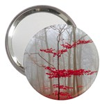 Magic forest in red and white 3  Handbag Mirrors Front