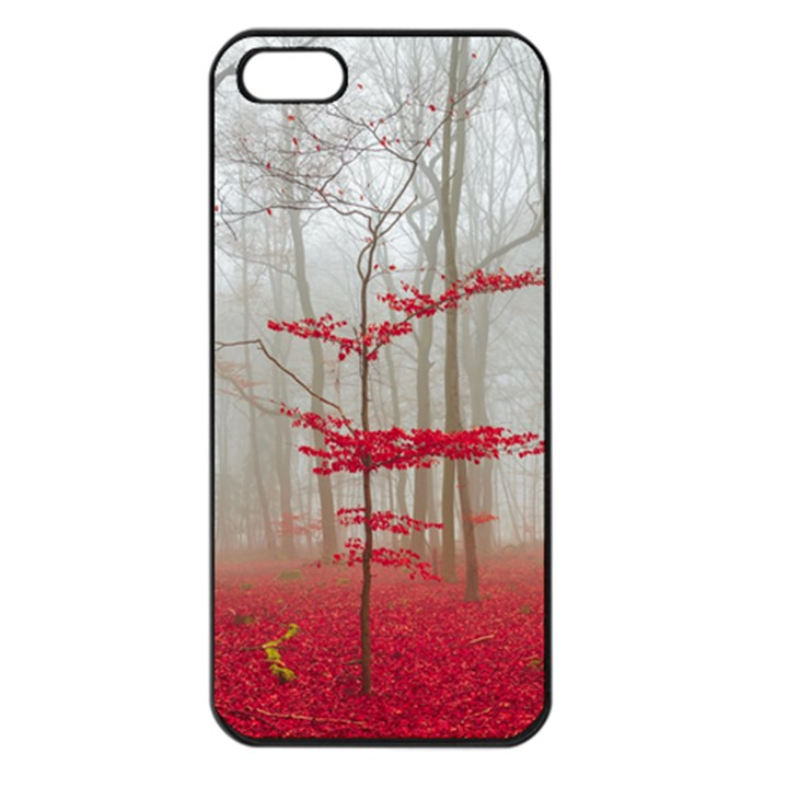 Magic forest in red and white Apple iPhone 5 Seamless Case (Black)