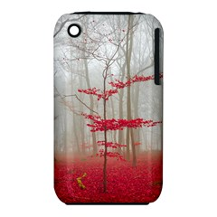 Magic Forest In Red And White Apple Iphone 3g/3gs Hardshell Case (pc+silicone) by wsfcow