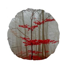 Magic Forest In Red And White Standard 15  Premium Round Cushions by wsfcow