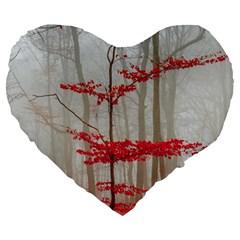 Magic Forest In Red And White Large 19  Premium Heart Shape Cushions by wsfcow