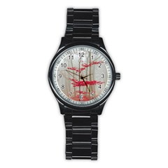 Magic Forest In Red And White Stainless Steel Round Watch by wsfcow