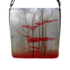 Magic Forest In Red And White Flap Messenger Bag (l)  by wsfcow