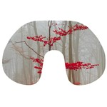 Magic forest in red and white Travel Neck Pillows Back