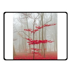 Magic Forest In Red And White Double Sided Fleece Blanket (small)