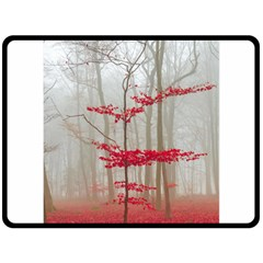 Magic Forest In Red And White Double Sided Fleece Blanket (large)  by wsfcow