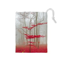 Magic Forest In Red And White Drawstring Pouches (medium)  by wsfcow