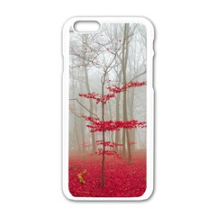 Magic Forest In Red And White Apple Iphone 6/6s White Enamel Case by wsfcow