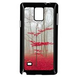 Magic forest in red and white Samsung Galaxy Note 4 Case (Black)