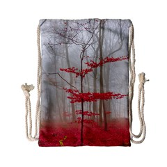 Magic Forest In Red And White Drawstring Bag (small) by wsfcow