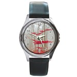 Magic Forest In Red And White Round Metal Watch Front