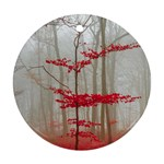 Magic Forest In Red And White Ornament (Round)  Front