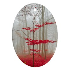Magic Forest In Red And White Ornament (oval)  by wsfcow
