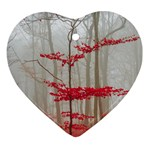 Magic Forest In Red And White Ornament (Heart)  Front