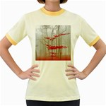 Magic Forest In Red And White Women s Fitted Ringer T-Shirts