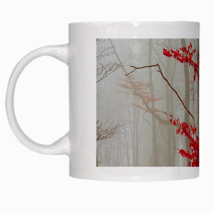 Magic Forest In Red And White White Mugs