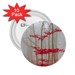 Magic Forest In Red And White 2 25  Buttons (10 Pack)