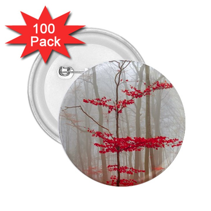 Magic Forest In Red And White 2.25  Buttons (100 pack)
