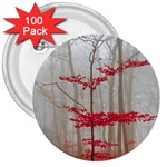 Magic Forest In Red And White 3  Buttons (100 pack)