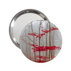 Magic Forest In Red And White 2 25  Handbag Mirrors by wsfcow