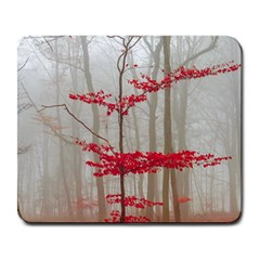 Magic Forest In Red And White Large Mousepads by wsfcow