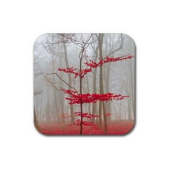 Magic Forest In Red And White Rubber Square Coaster (4 Pack)  by wsfcow