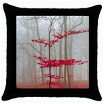 Magic Forest In Red And White Throw Pillow Case (Black) Front