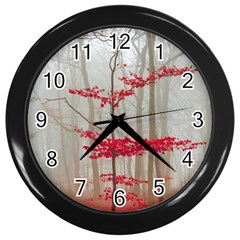Magic Forest In Red And White Wall Clocks (black)