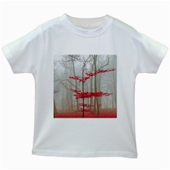Magic Forest In Red And White Kids White T Shirts